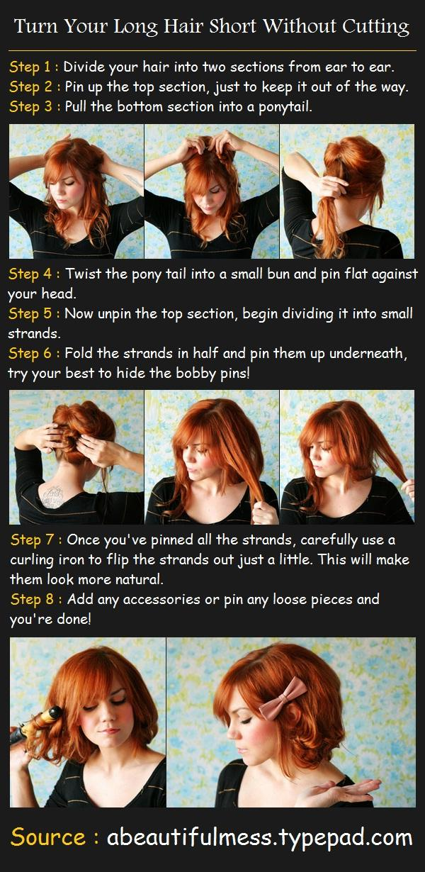 Turn Your Long Hair Short Without Cutting Tutorial