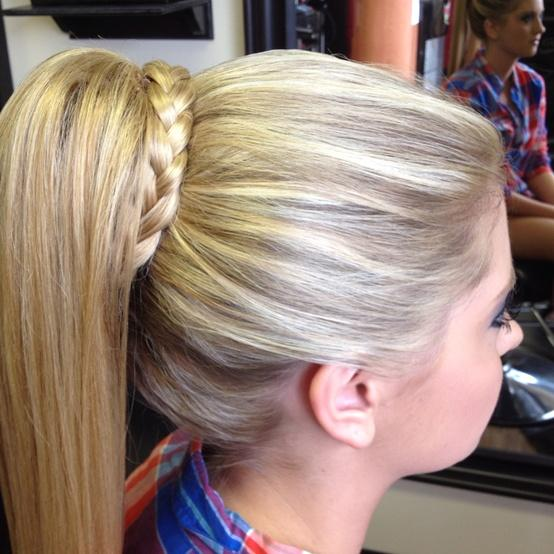 high ponytail with braid � long hairstyles how to