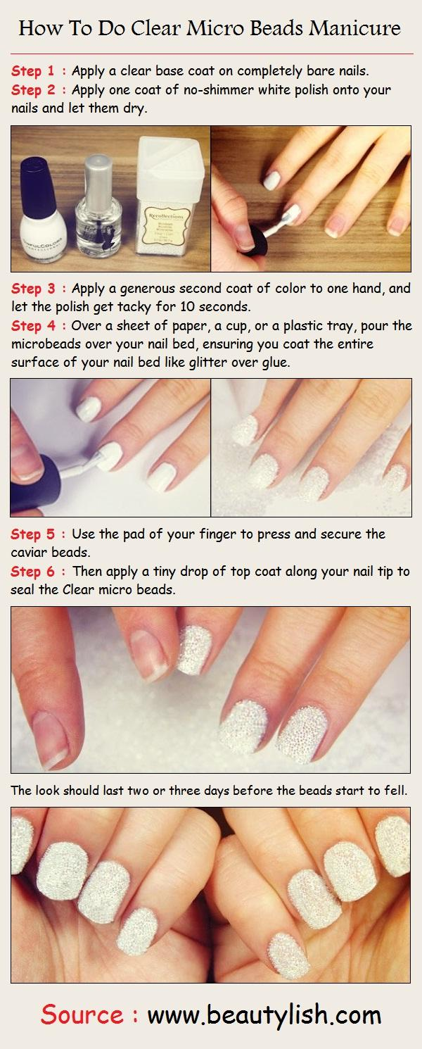 How To Do Clear Micro Beads Manicure