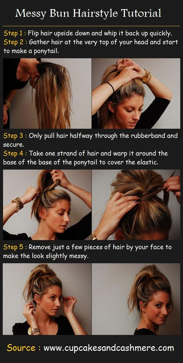 Messy Bun Hairstyle Tutorial Long Hairstyles How To