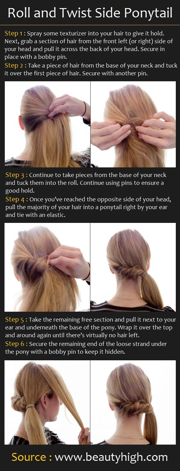 Roll and Twist Side Ponytail