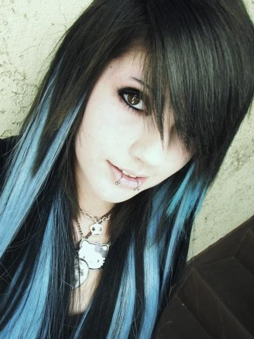 Black And Blue Hair Color Long Hairstyles How To