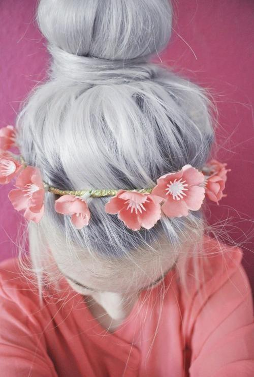 silver hair with flowers