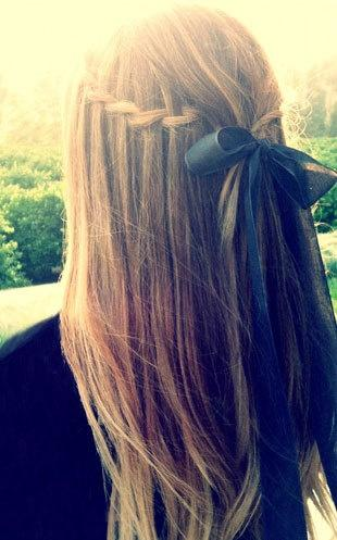 waterfall braid with bow