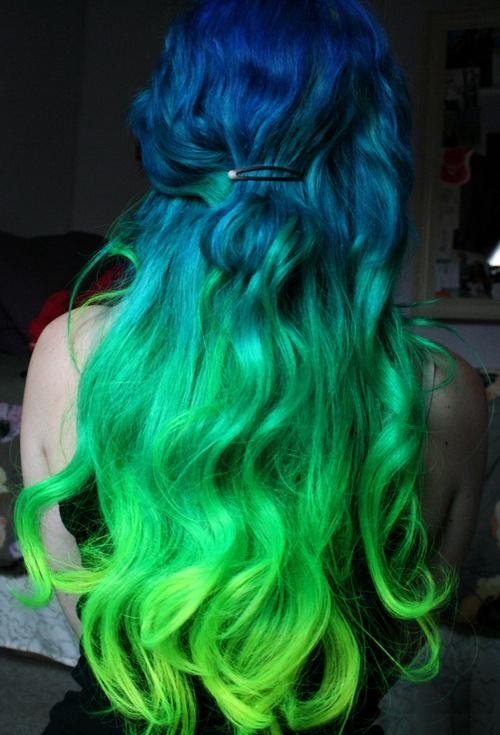 blue green dyed hair – Long Hairstyles How To