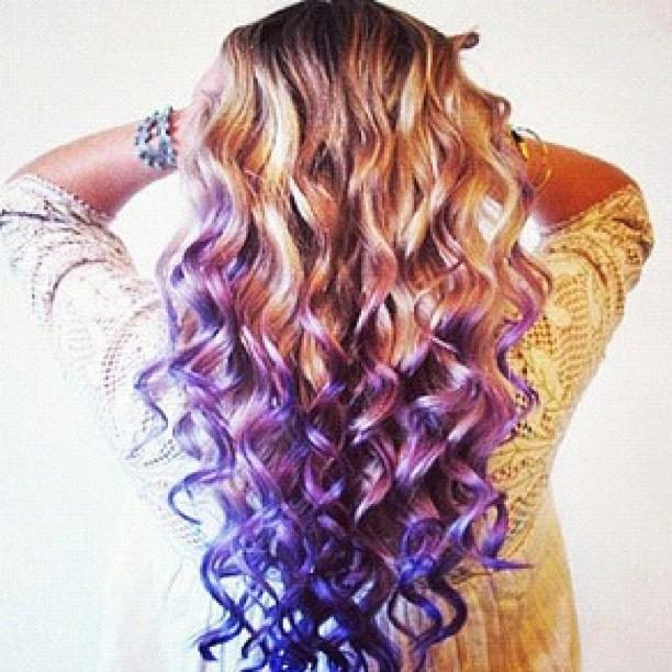 Curly Hair Purple Tips Long Hairstyles How To