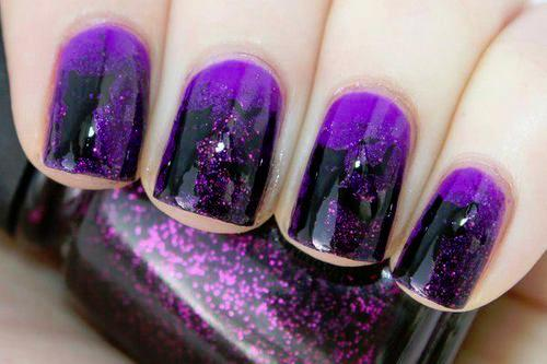 Purple Glitter Nails Long Hairstyles How To