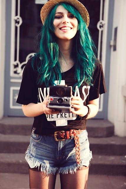 Teal hair long hairstyles how to Indie fashion style definition