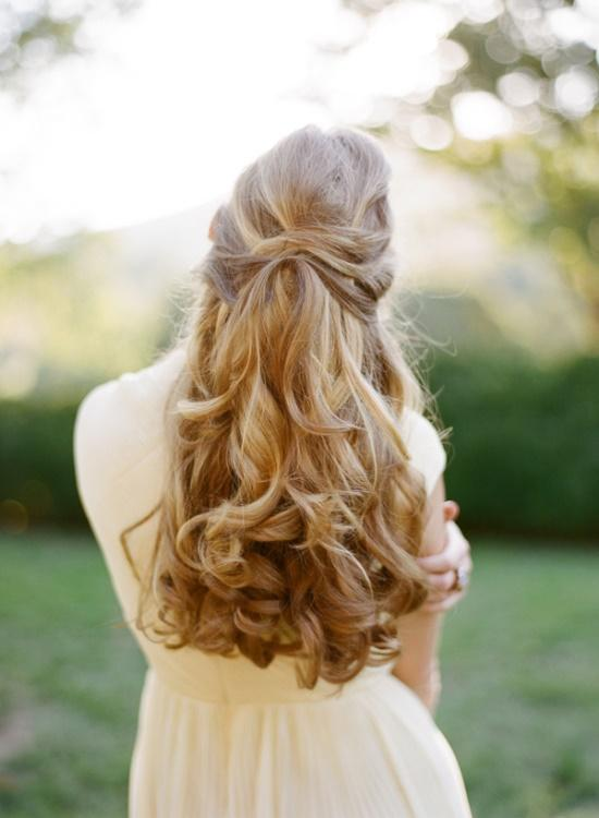 wedding hairstyle and a beautiful white dress