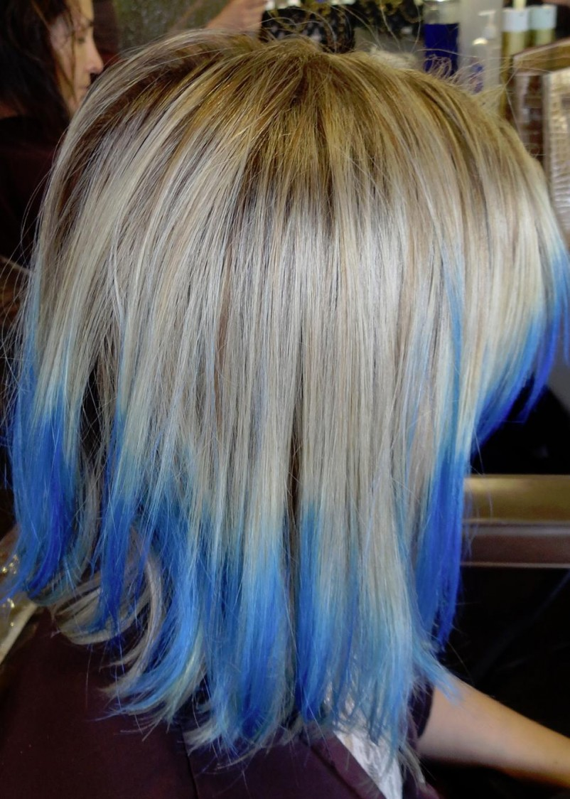 Medium Blue Tips Long Hairstyles How To