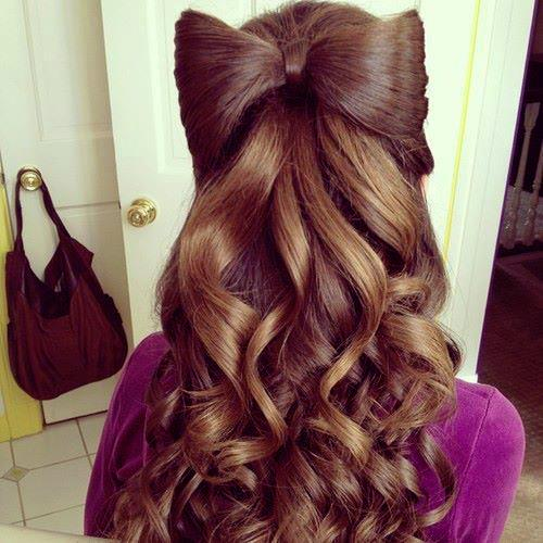 Curly Shiny Bow Long Hairstyles How To