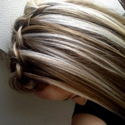 braided with brown and blonde highlights