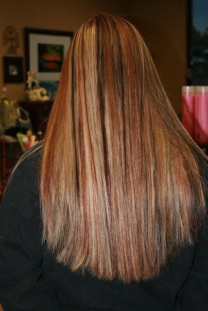 dark brown lowlights blonde and red highlights long hairstyles how to
