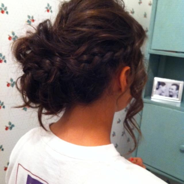 Side Braid Messy Updo Long Hairstyles How To