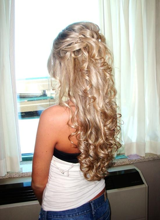 Half Up Blonde Curls Long Hairstyles How To
