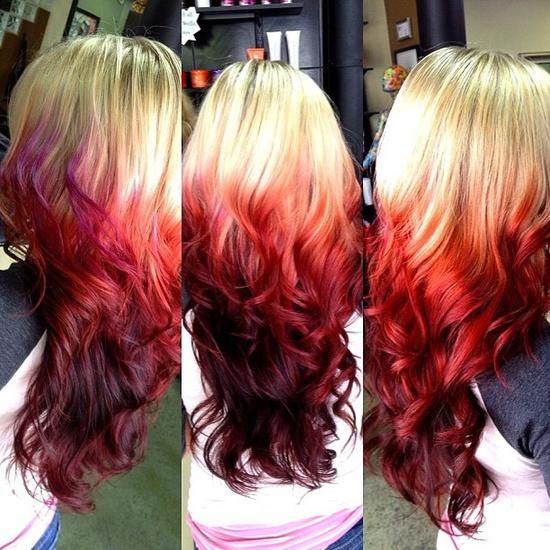 Fire Red Ombre Dipped – Long Hairstyles How To