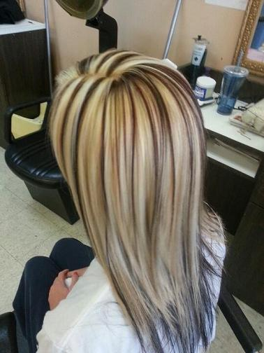Chocolate and vanilla colored highlights and lowlights
