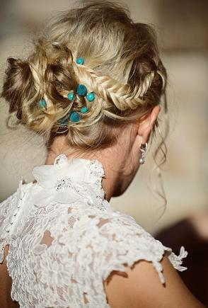 stunning braids,turquoise and messy bun